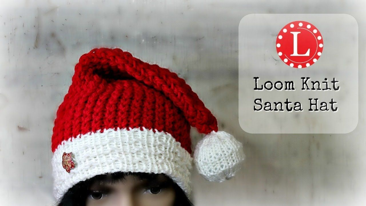 LOOM KNITTING HAT on a Round loom. Christmas Holiday Santa Hats ...