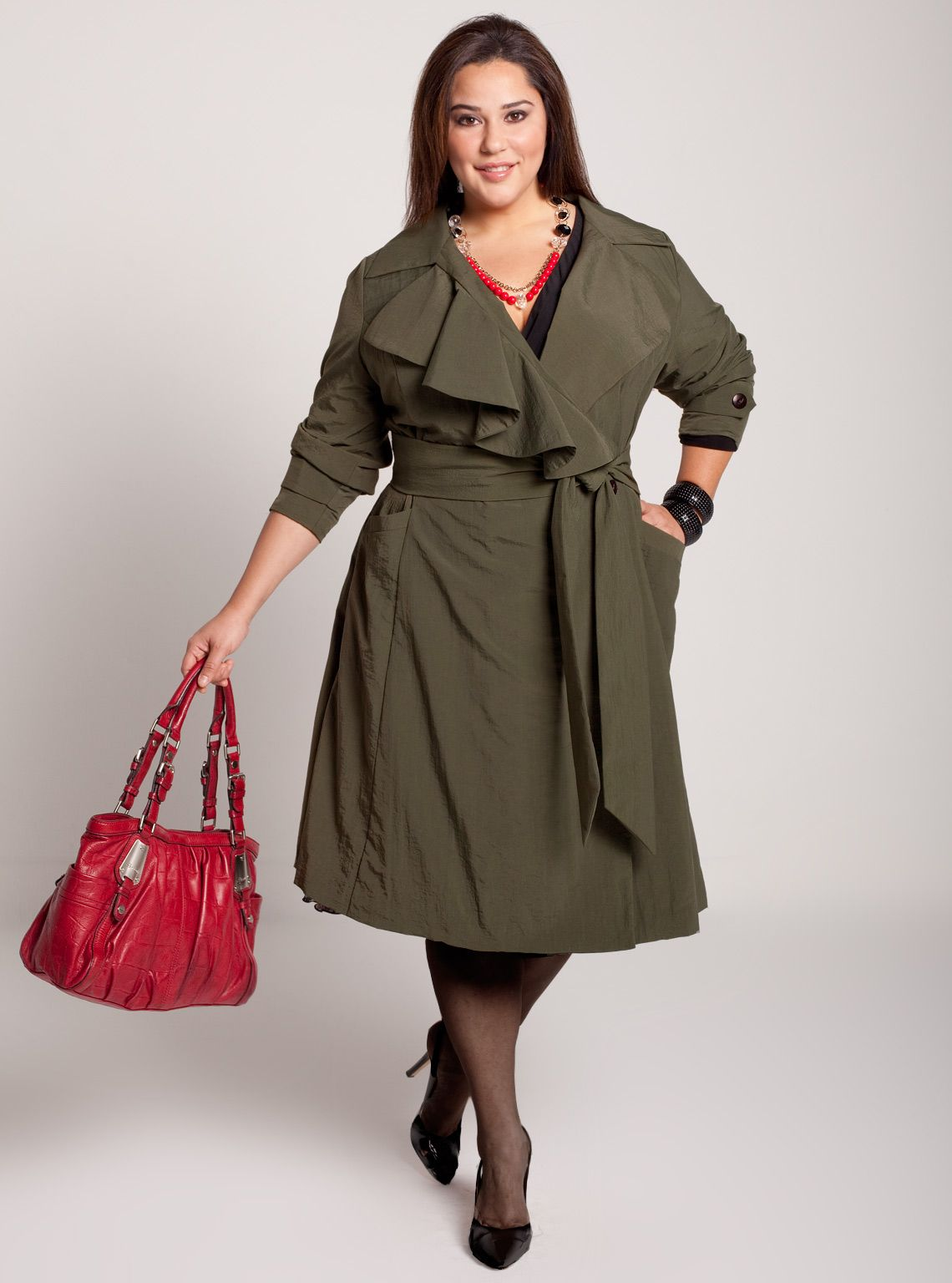 Plus Size Trench Coat Dress