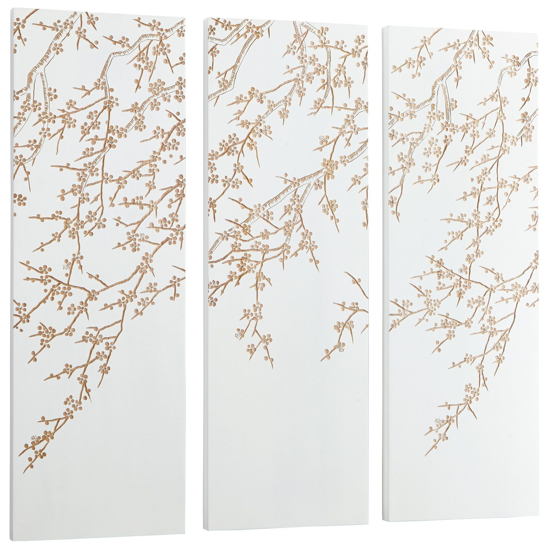 Cherry blossom carved wood wall art white and gold piece set by