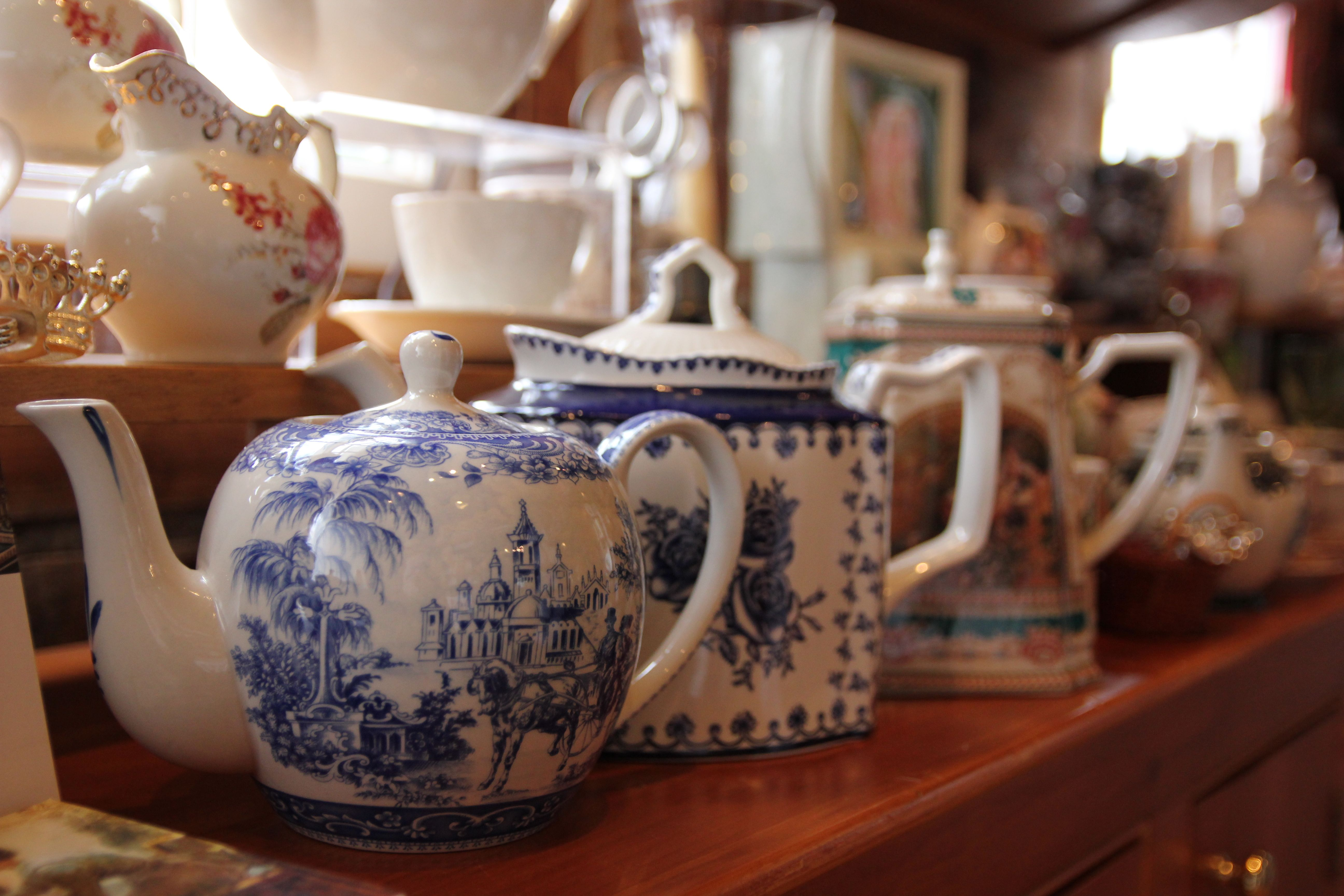 We have lots of tea pots, and chinaware available in our gift shop!