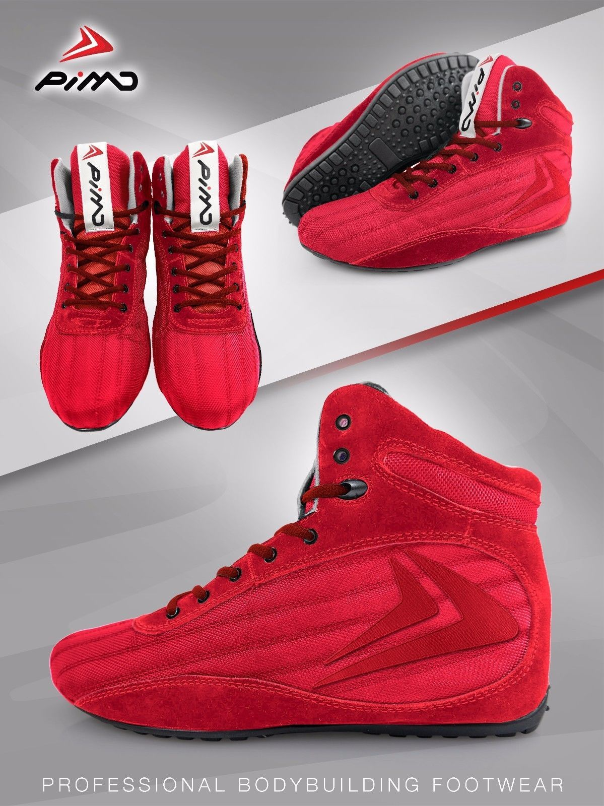 3dea184116b1 Pimd red  x-core gym  shoes weight lifting high top boots bodybuilding mma