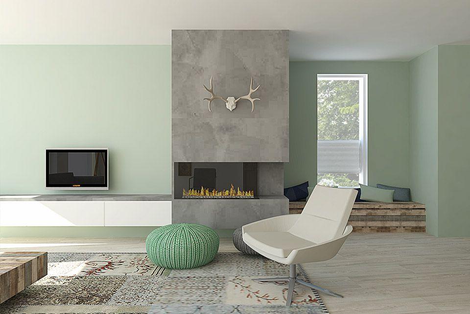 Inrichting Woonkamer Steigerhout : Scandinavisch interieur met beton steigerhout en een grote haard