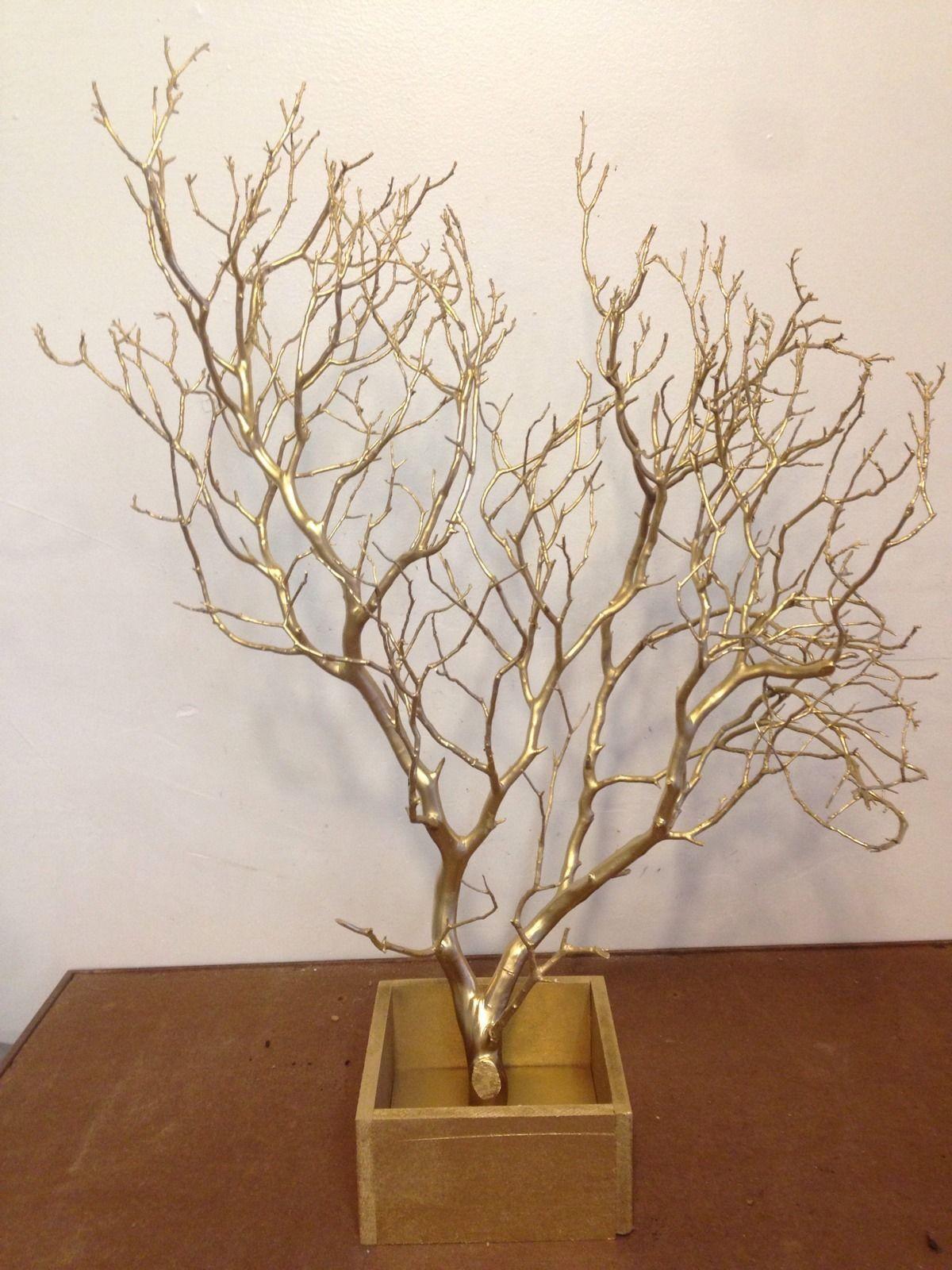 Gold manzanita branch centerpiece champy s wedding ideas