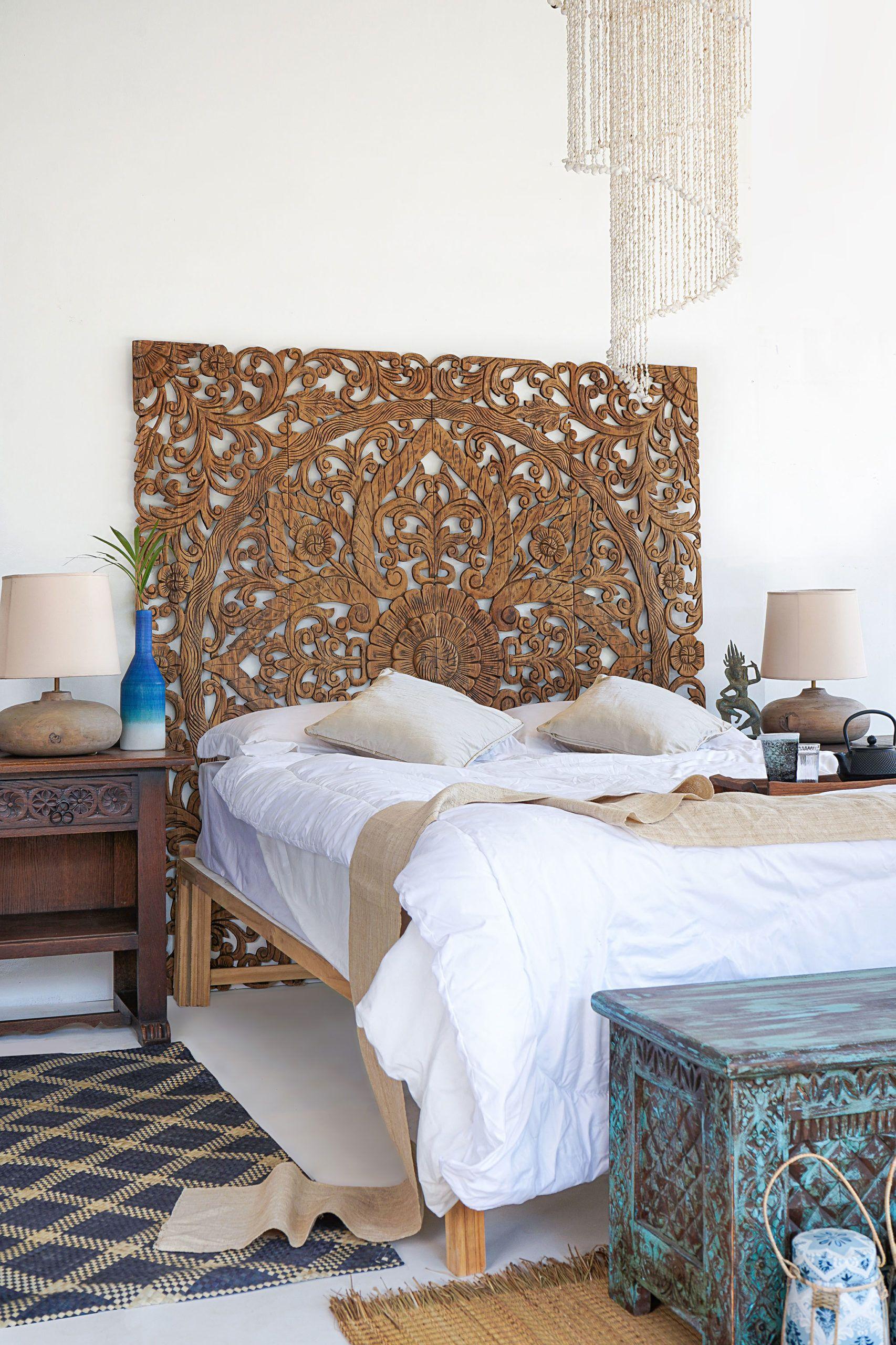 Kingsize Headboard Balinese Wooden Panel In Boho Design Balinese Boho Design Headboard Kin In 2020 Headboards For Beds King Size Bed Headboard Wooden King Size Bed