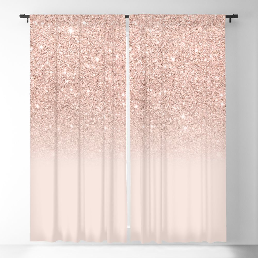 Rose Gold Faux Glitter Pink Ombre Color Block Blackout Window Curtains By Girlytrend Rose Gold Curtains Rose Gold Bedroom Decor Gold Curtains