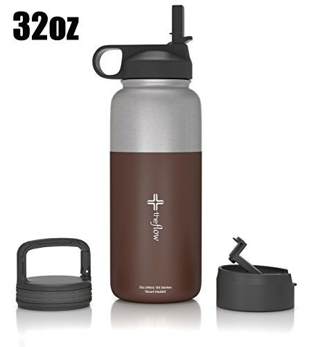 The Flow Stainless Steel Water Bottle Double Walledvacuum Insulated Bpatoxin Free Wide Mouth With Straw Lid Water Bottle Bottle Stainless Steel Water Bottle