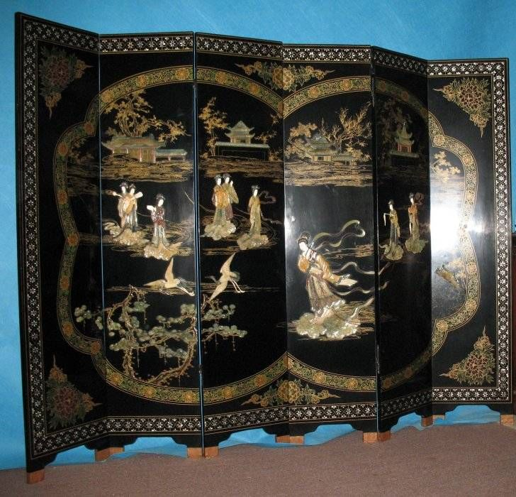 Mother Of Pearl Inlay Wooden Mini Folding Screen Asian: Black Lacquer Wood With Mother Of