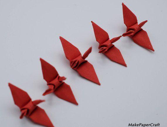 1000 Origami Paper Crane Pink Red Tone 3x3 inch Origami cranes Folded