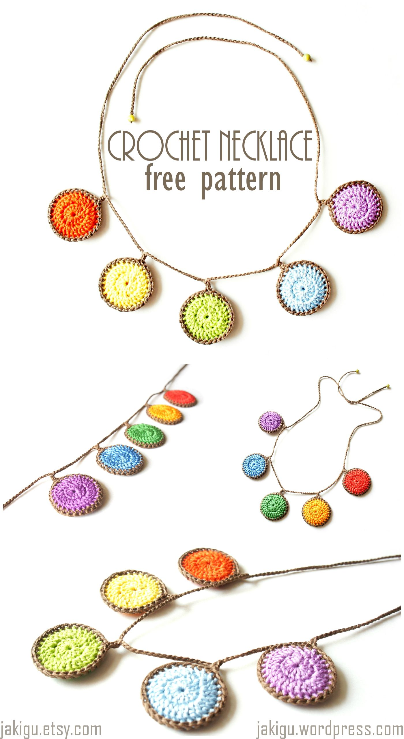 free crochet pattern: colorful necklace | Collares, Ganchillo y ...