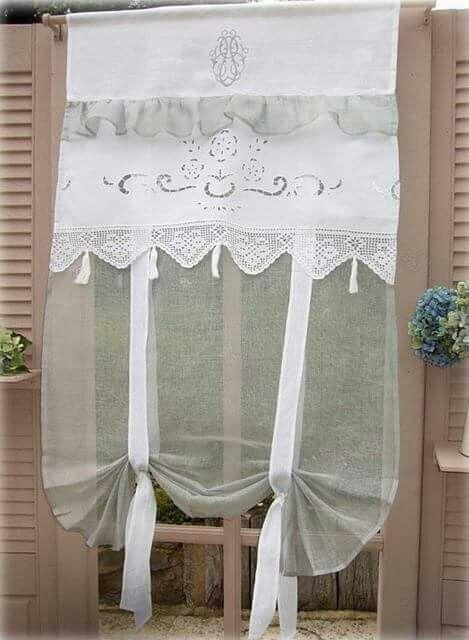 Bonita combinaci n de texturas lino gasa bordado richelieu - Faire des rideaux avec draps anciens ...