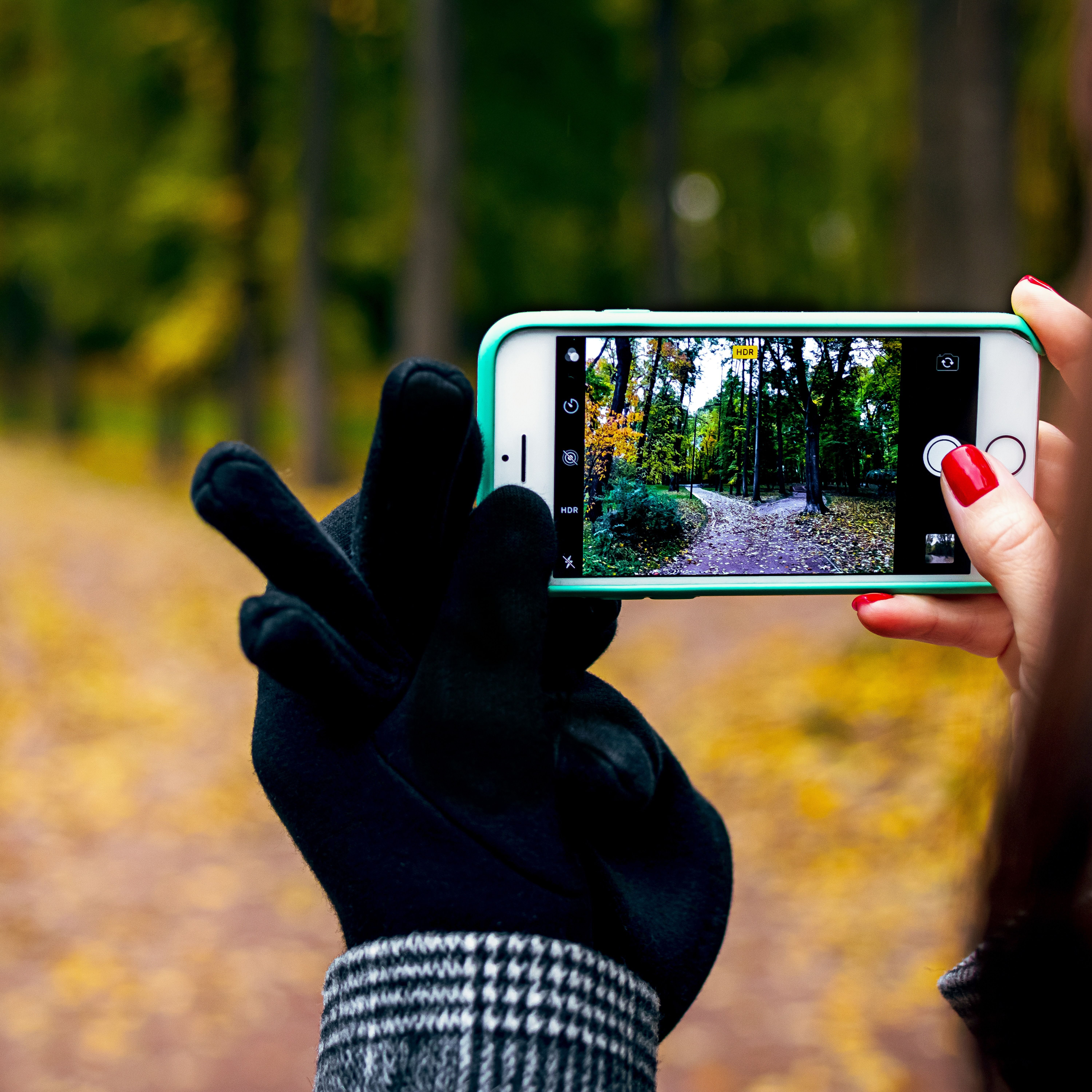 Woman hand with smartphone. Fall background., background