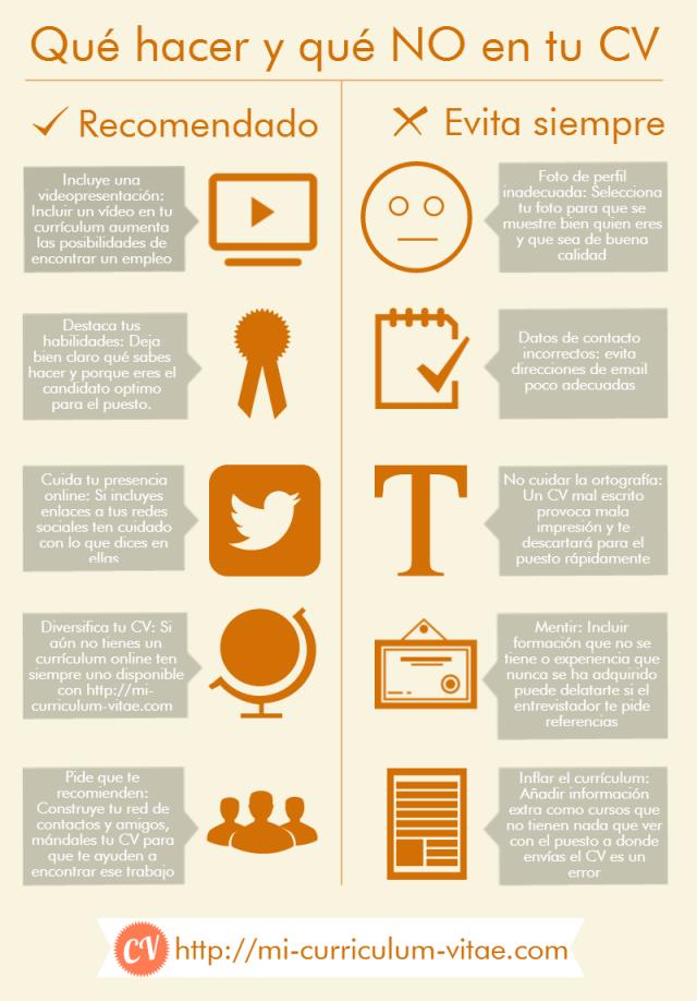 qu hacer y no hacer en tu curriculum vitae infografia infographic empleo