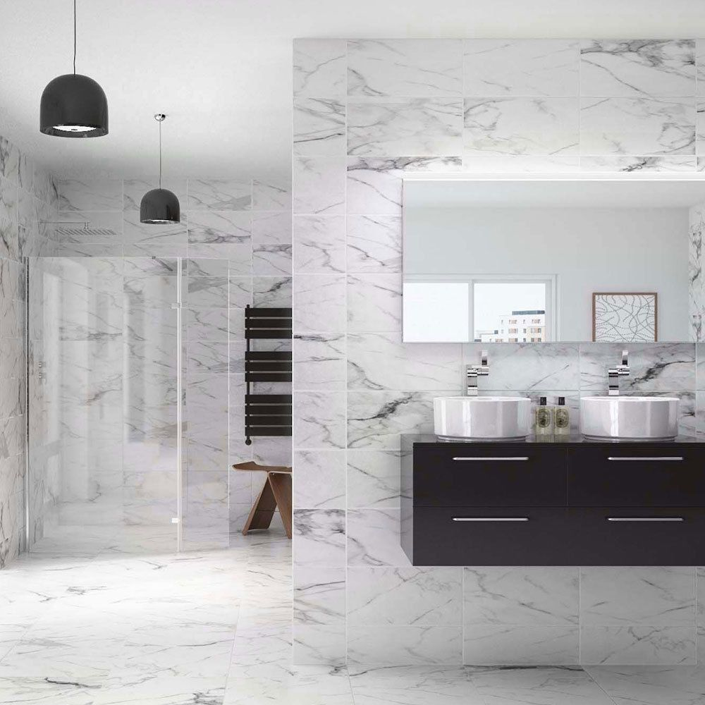Venato White Marble Effect Ceramic Floor Tiles 500x500x9mm 3-10 Sqm ...