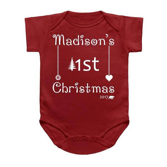 Personalized First Christmas baby onesie/ Babies 1st ...