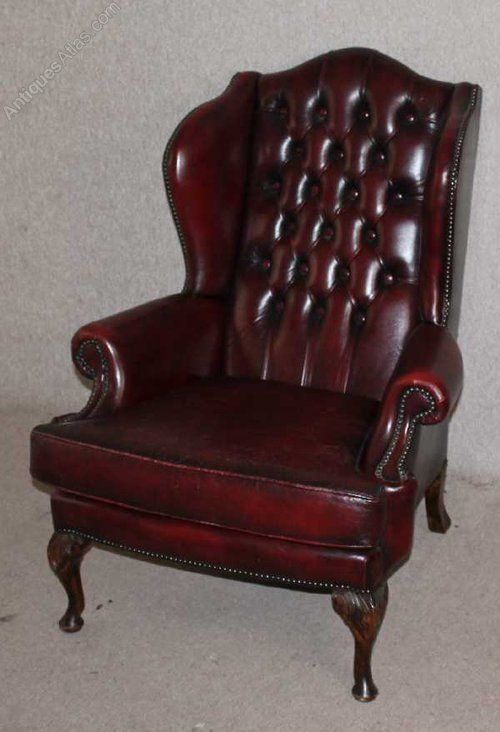 Ox Blood Red Leather Button Back Wing Armchair   Antiques Atlas