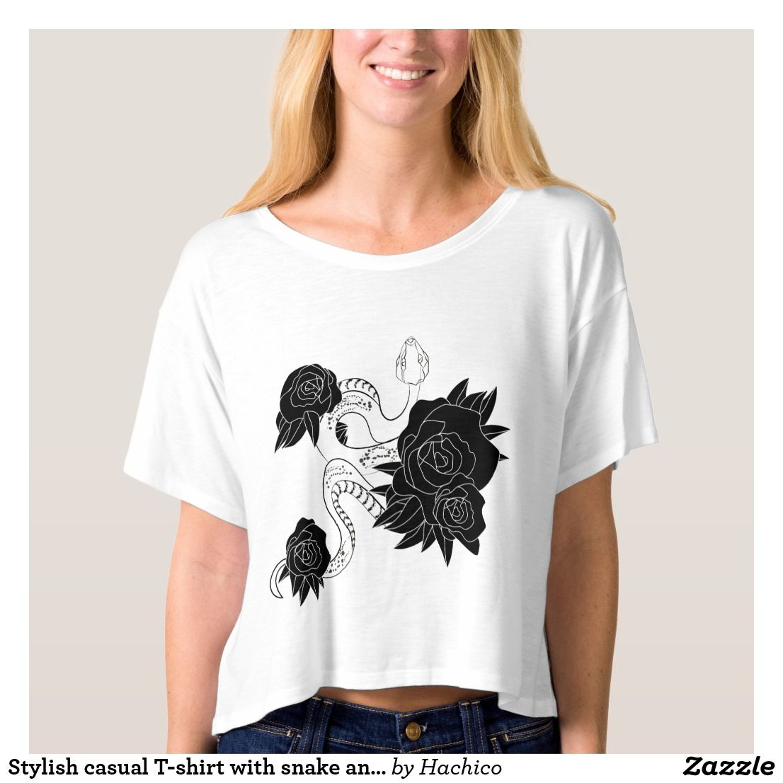 2a5ac3ab Stylish casual T-shirt with snake and roses. | Zazzle.com | T-shirt ...