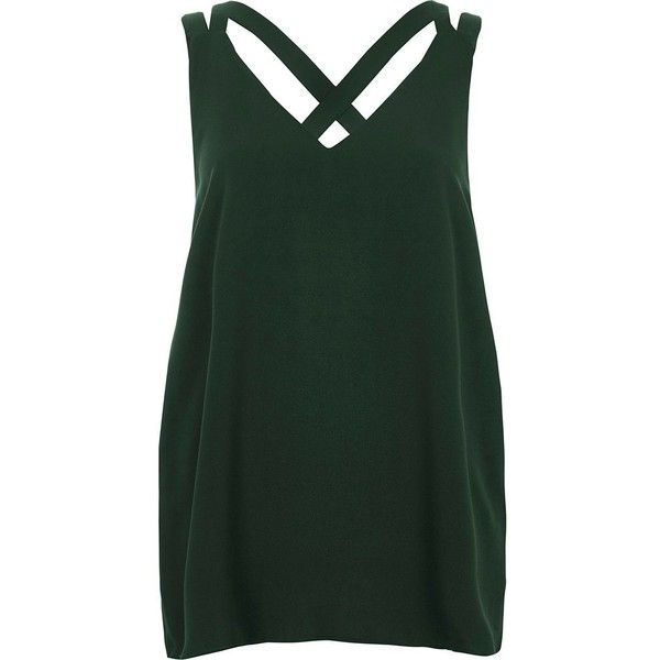 68b62cdf2a6a8 River Island Dark green double strap cross back tank (€31) ❤ liked on Polyvore  featuring tops