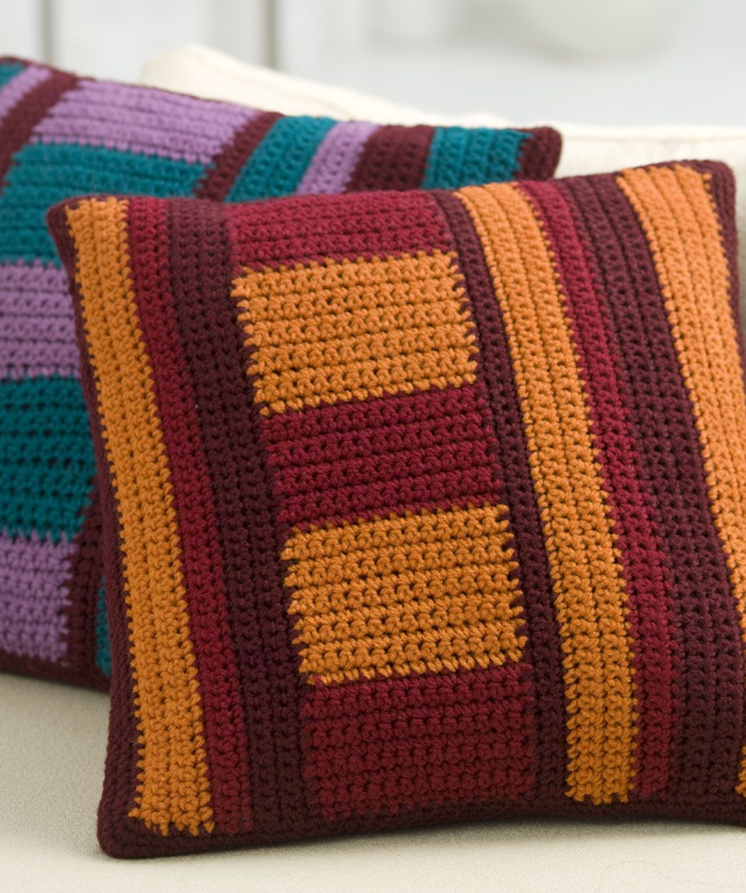 Mod Striped Pillows Free Crochet Pattern from Red Heart Yarns ...
