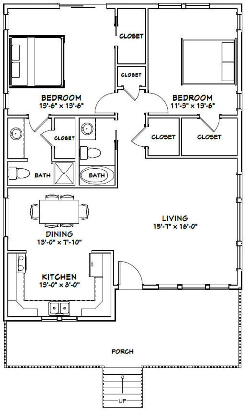30x40 House 2 Bedroom 2 Bath 1 136 Sq Ft Pdf Floor Plan Instant Download Model 1c 30x40 House Plans Guest House Plans Small House Floor Plans