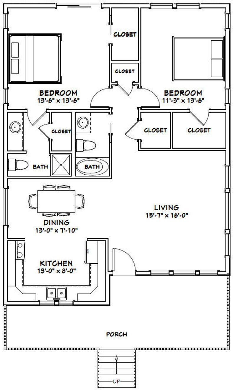 30x40 House 2 Bedroom 2 Bath 1136 Sq Ft Pdf Floor Etsy Guest