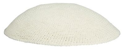 Off White Knit Kippot are crocheted by therefore size, color and style may vary.