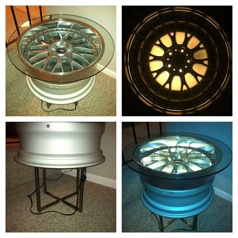 Wheel Rim Lighted Table - Man Cave