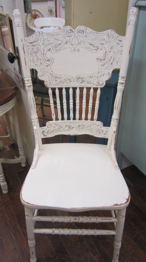 Shabby Chic White Pressed Back Chair Carved Boho by rosesnmygarden, $235.00 - Antique Pressback Chair Painted In Pure White Annie Sloan Chalk
