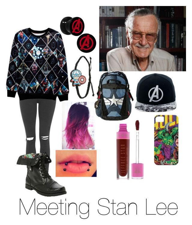 """""""Meeting Stan Lee"""" by yagirlj ❤ liked on Polyvore featuring Topshop, Marvel Comics and Jeffree Star"""