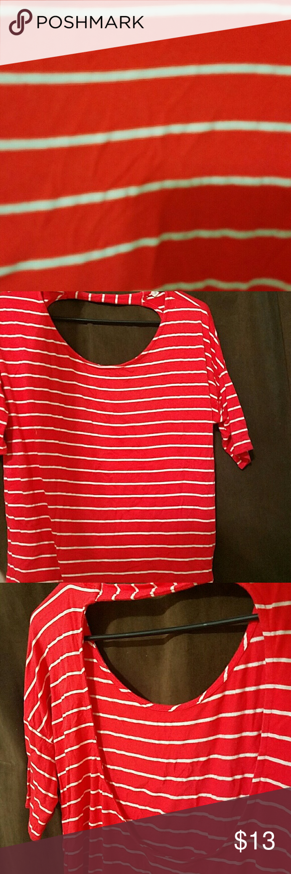 Striped top Coral and white striped open back top. Light and flowing top that's great for summer fall and spring, a must have staple piece. Soprano Tops Blouses