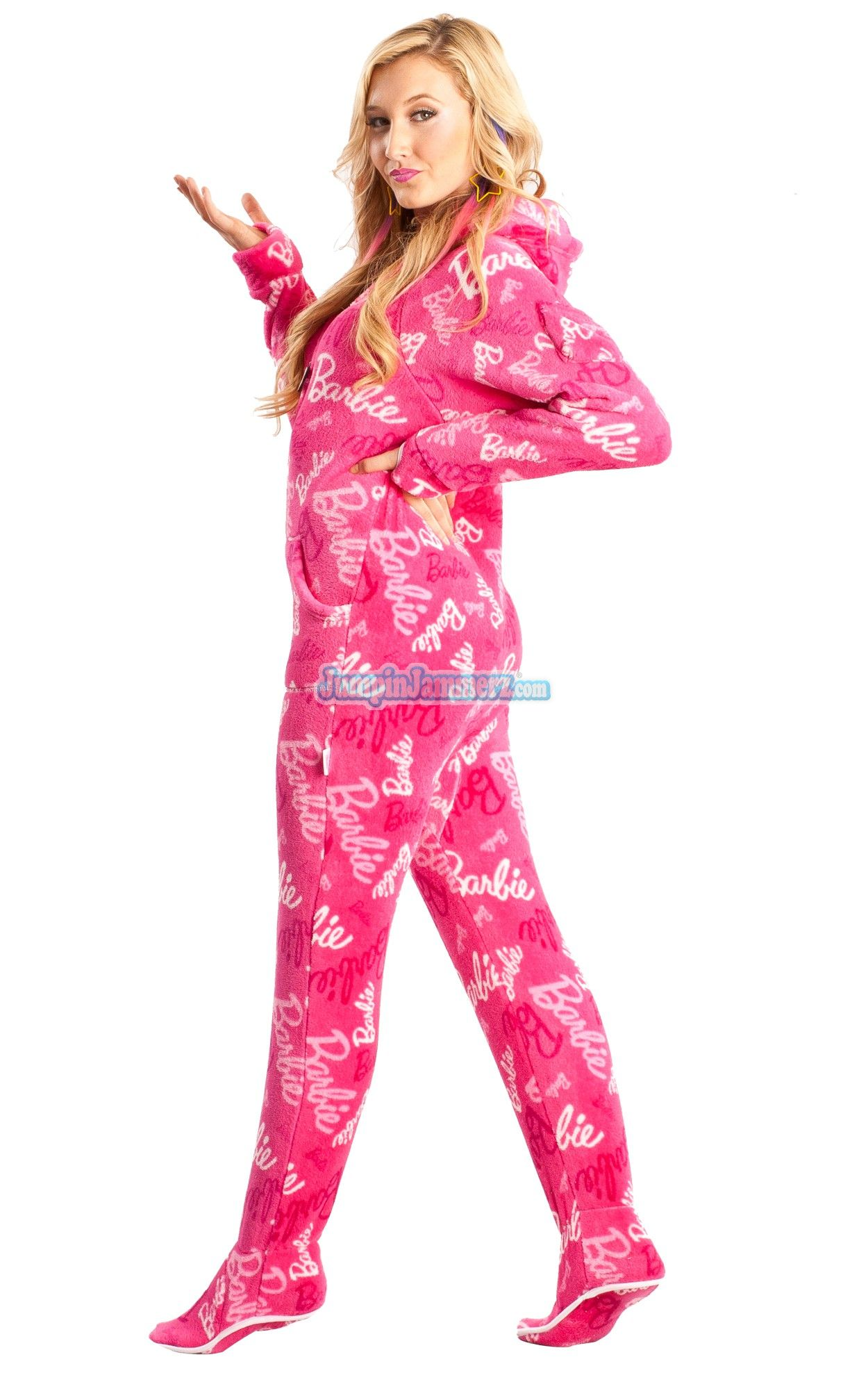 Super cute Barbie footed pajamas feature: Front pockets, Thumb holes ...