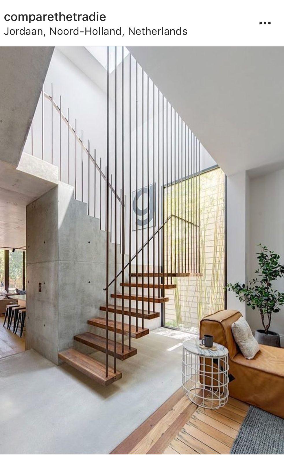 Escalier et jonction sol | railing } structural | Staircase design ...
