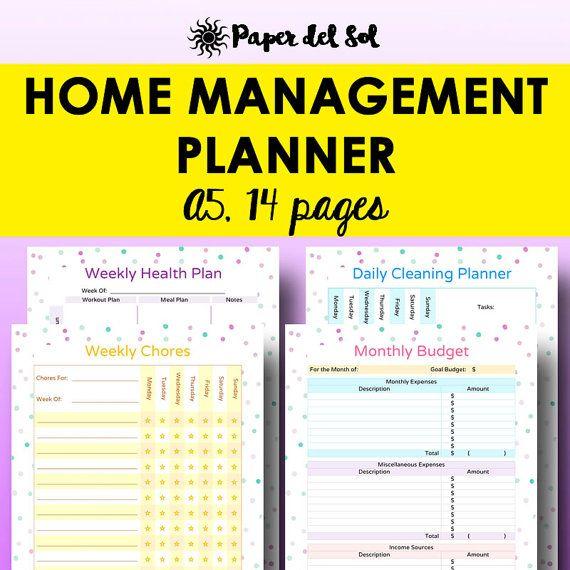 A5 Home Management Binder Printable, Household Planner