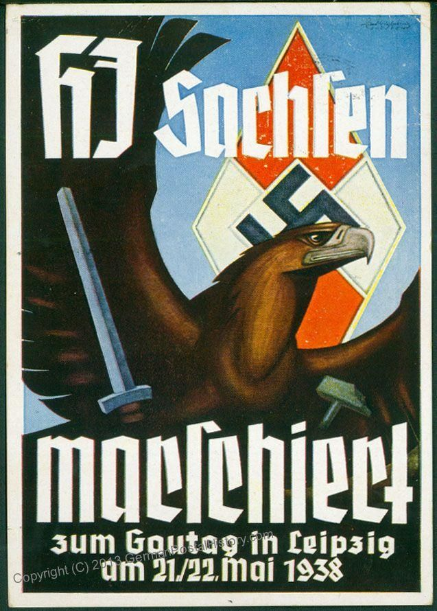 Hitler Youth HJ Gau Sachsen Leipzig 1938 Propaganda PPC a