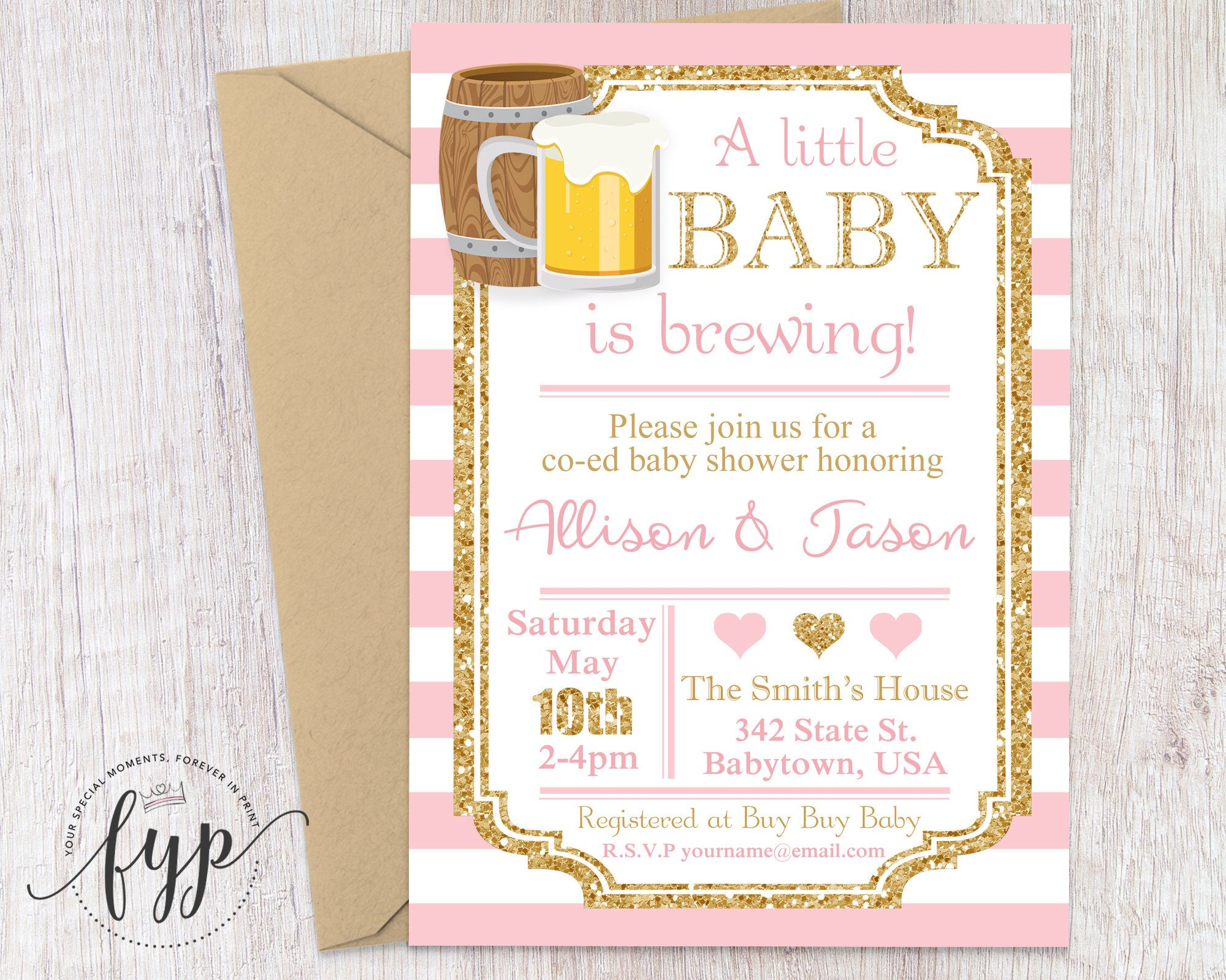 Coed Baby Shower Invitation, Beer Baby Shower Invitation, Baby Is ...