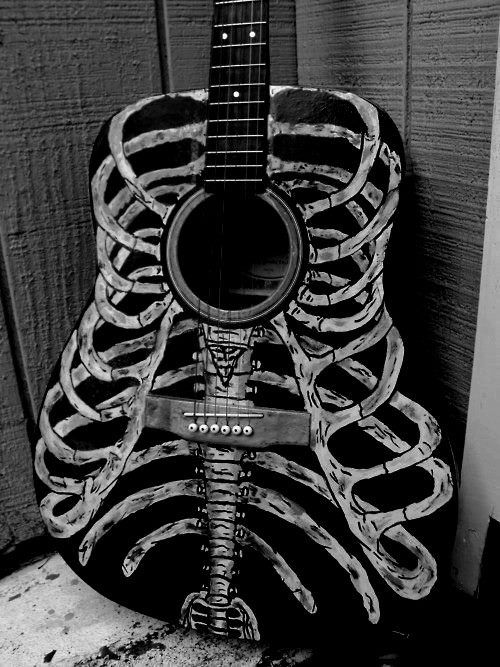 www.RockTheFOut.com skeleton guitar, rock, metal, heavy metal, art, illustration, decoration, decorated, custom, hand made, acoustic, design