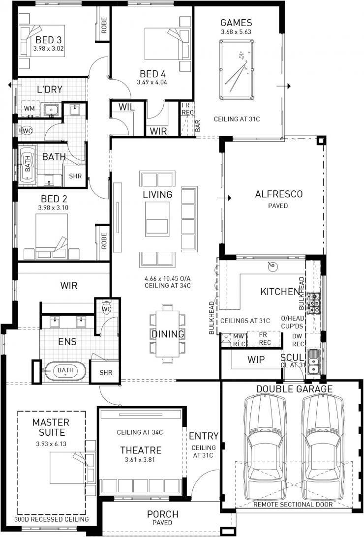 Modena Single Storey Display Floor Plan Wa Home Design Floor Plans 4 Bedroom House Plans New House Plans