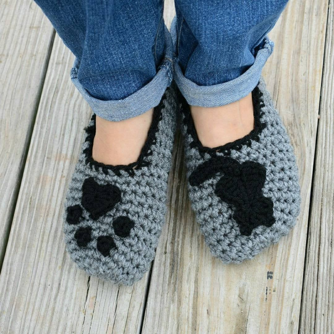 Crochet Cat Slippers, women's crochet slippers with cat