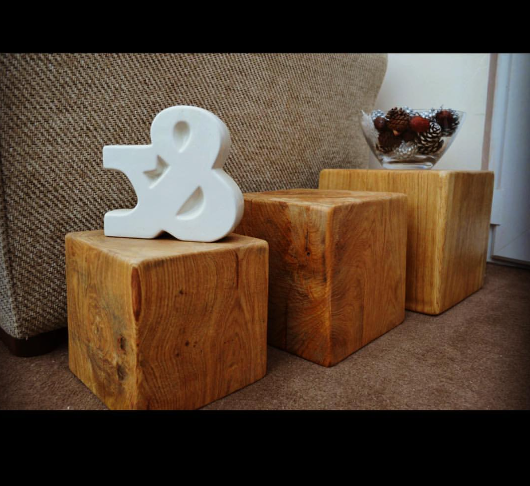 SIDE TABLES RUSTIC HAND CRAFTED TRIO OF SOLID OAK BEAM CUBE TABLES