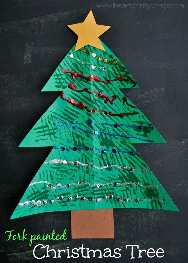 Christmas Tree Kids Craft for Kids | Paint the tree by stamping it with a fork to give it a pine tree texture. | from I Heart Crafty Things