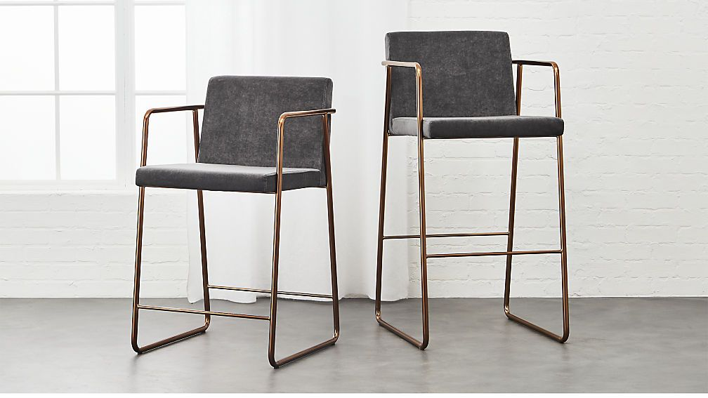 Shop Rouka Grey Upholstered Bar Stools. Designed By Jannis Ellenberger, The  Rouka (which Means Food In Finnish) Is An Elegant Twist On The Bar Stool.