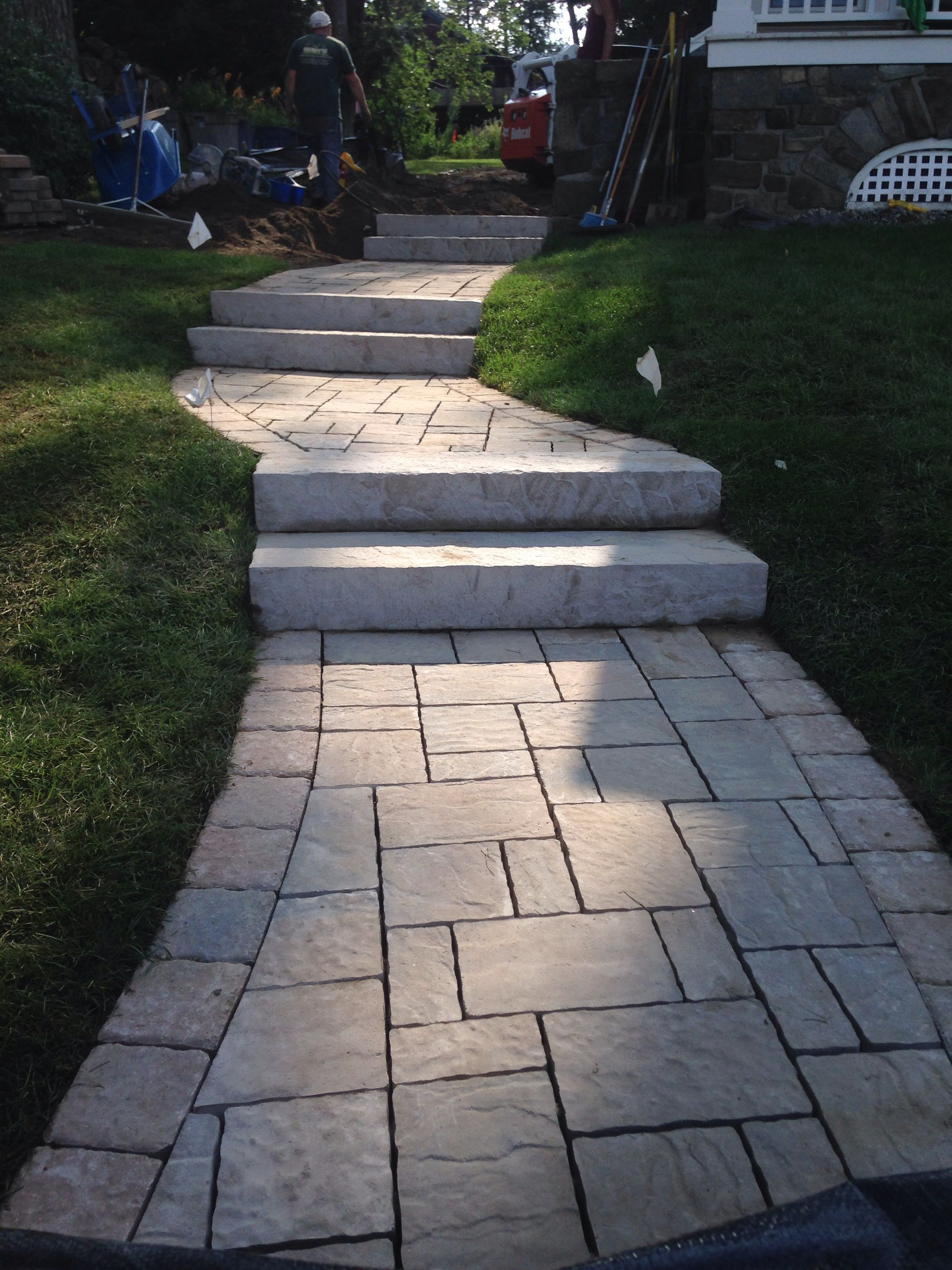 Tiered Walkway Using Techo Bloc Rocka Steps With Mist