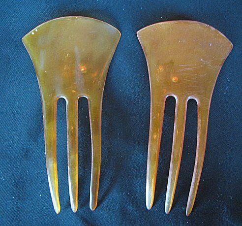 Vintage Pair of Applejuice Bakelite Combs | eBay