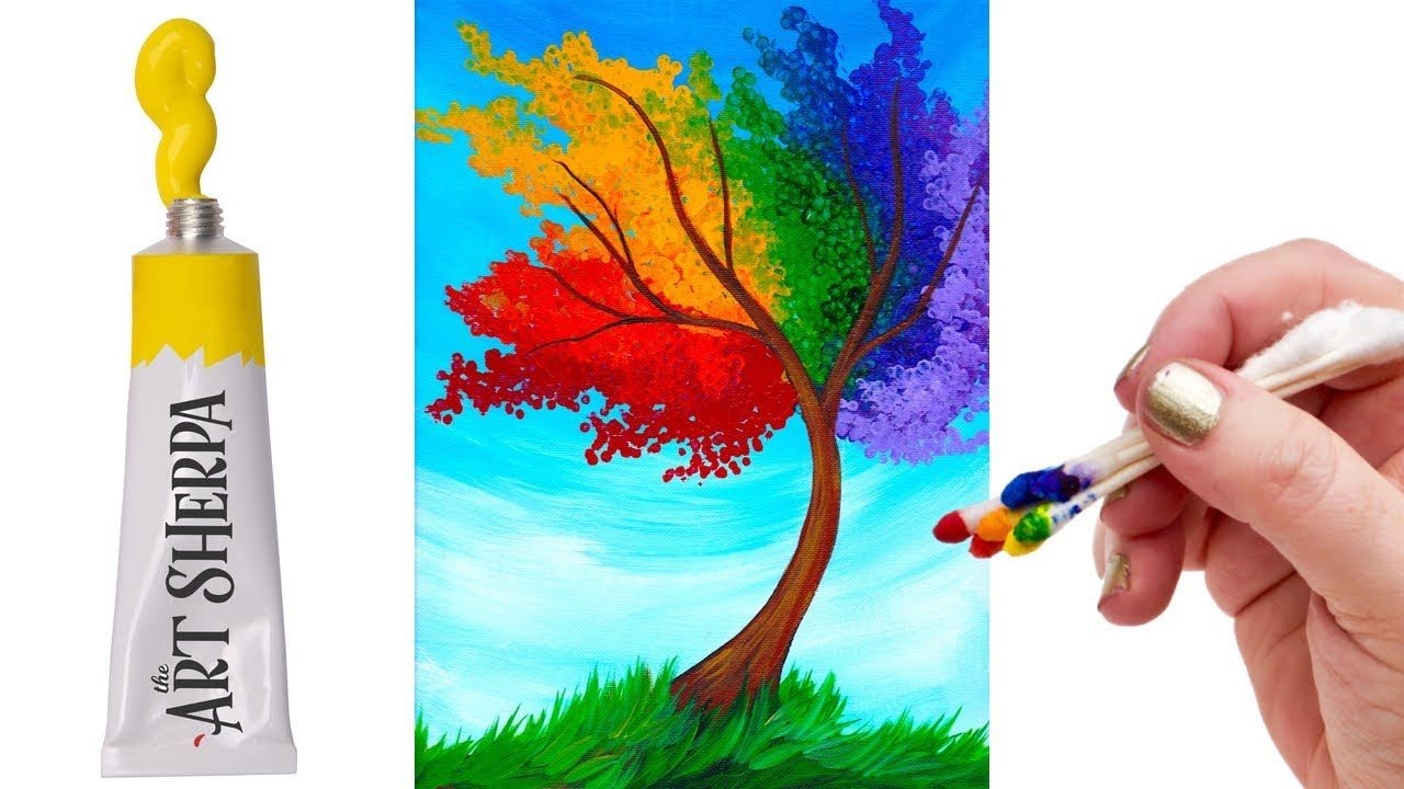 Easy Rainbow Willow Tree Q Tip Acrylic Painting Tutorial