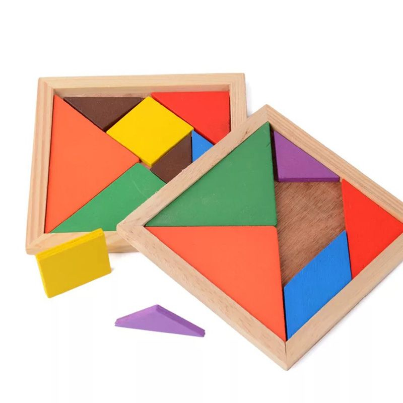 12% Off ] Wooden Tangram Jigsaw Board 1pc Multicolour Wood