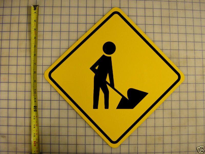 "MEN WORKING ROAD SIGN - 16"" X 16"" YELLOW ALUMINUM"