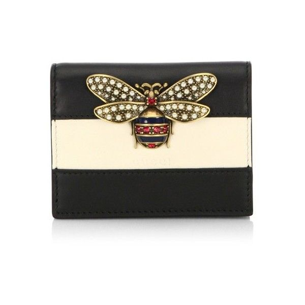 3bdfe51e4146 Gucci Queen Margaret Colorblock Leather Wallet ($495) ❤ liked on Polyvore  featuring bags, wallets, black, clutches, snap wallet, genuine leather bag,  ...