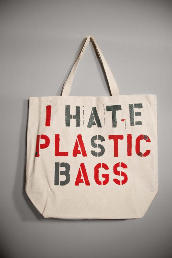 large canvas tote shopping bag i hate plastic bags by kdrummond, $20.00