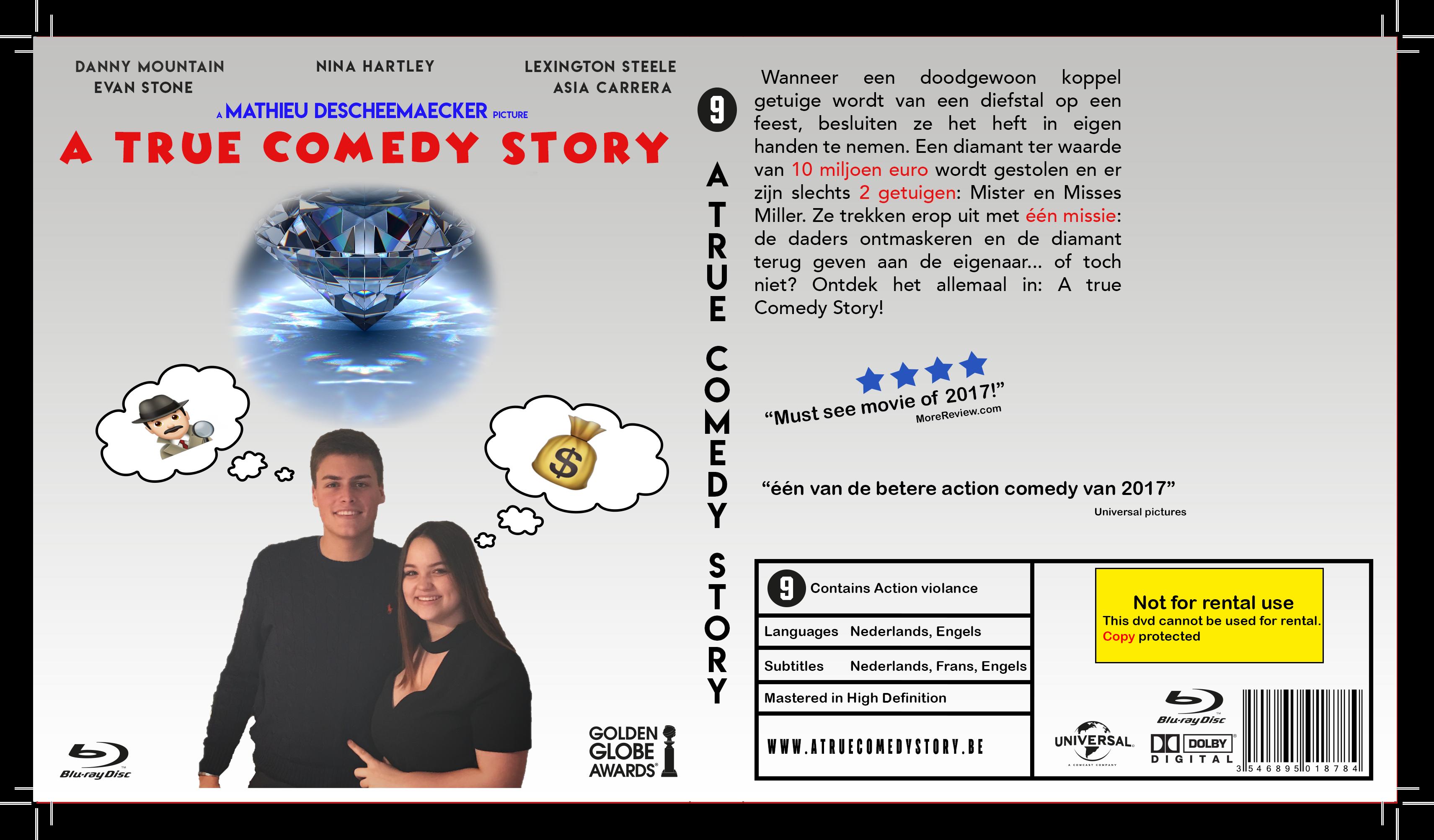 Blu Ray hoes Eind: Strak wit met de duidelijke kleuren blauw en rood en zwart dat is gebleken uit mijn vooronderzoek. Het font is ook strak maar toch comedy gericht. Enkel nog één afbeelding toe te voegen rechtsbovenaan.
