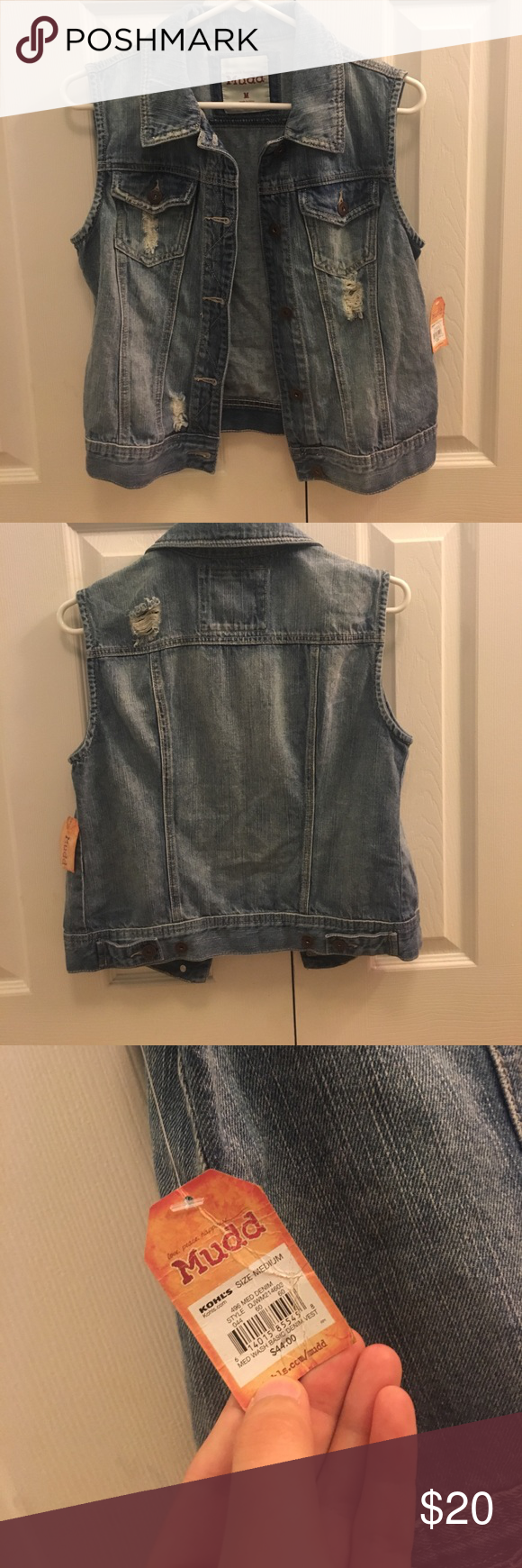 Basic Denim Vest Basic denim vest with slight (and cute) destruction. Very stylish for those summer nights! Never worn with tags. Mudd Jackets & Coats Vests