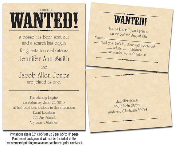 Wanted Poster Printable Wedding Invitations Reply By TaraD82 4000